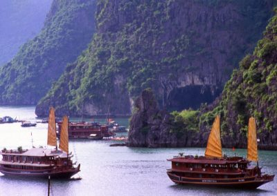 Traditional Boats in Halong Bay , Vietnam