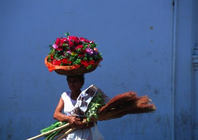 Woman and Flowers - Leon - Nicaragua, Central America
