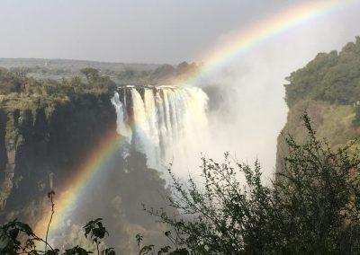 Big rainbow at Victoria Falls