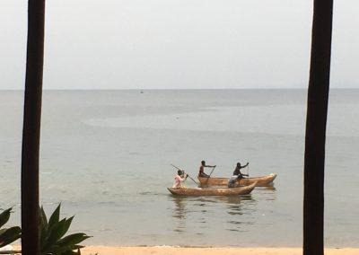 People on canoes - Lake Malawi