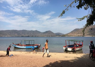 People on the beach - Lake Malawi