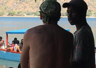 Talking with guide - Lake Malawi