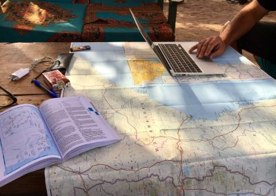 Working on map for the departure - Cape Mc Clear - Lake Malawi